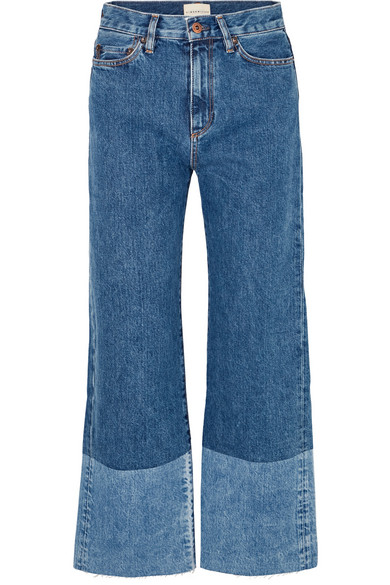 SIMON MILLER Cropped high-rise wide-leg jeans