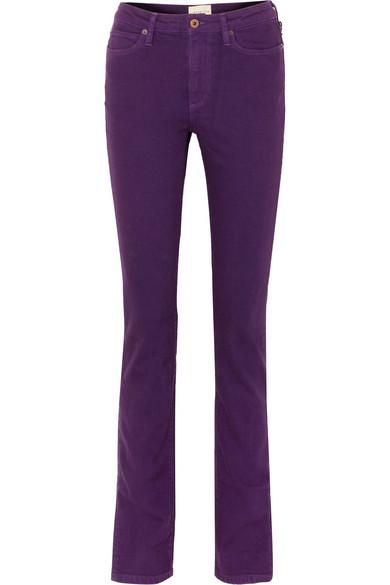 W009 Letha Mid-Rise Slim-Leg Jeans, Purple