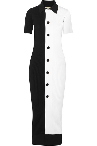 SIMON MILLER Laurin two-tone ribbed-knit midi dress