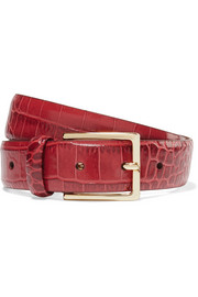 Croc-effect leather belt