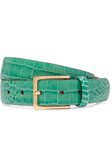 ANDERSON'S Croc-Effect Leather Belt in Green