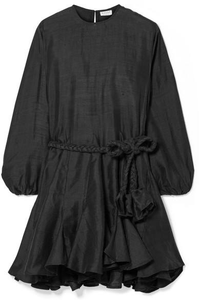 Rhode Resort - Ella Belted Ruffled Silk-canvas Mini Dress - Black