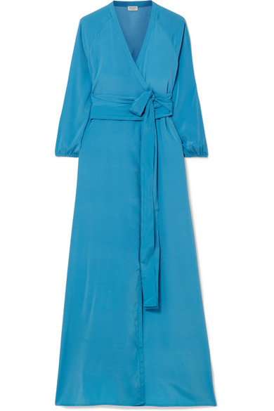 RHODE RESORT Jagger Silk Crepe De Chine Wrap Dress in Light Blue