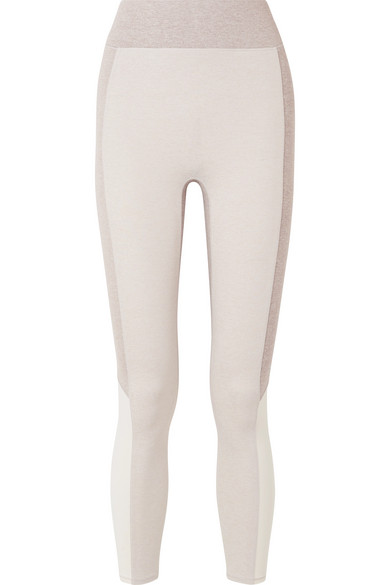 WE/ME The Sunrise Cropped Color-Block Stretch-Jersey Leggings in White