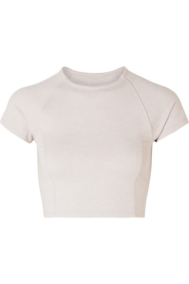 WE/ME The Karma Cropped Stretch-Jersey Top in Sand