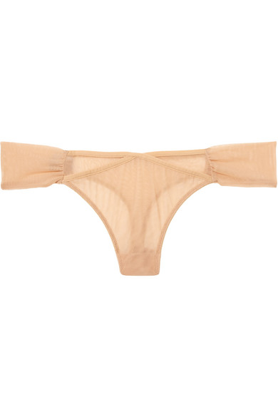 ADINA REAY Fran Stretch-Tulle Thong in Neutral
