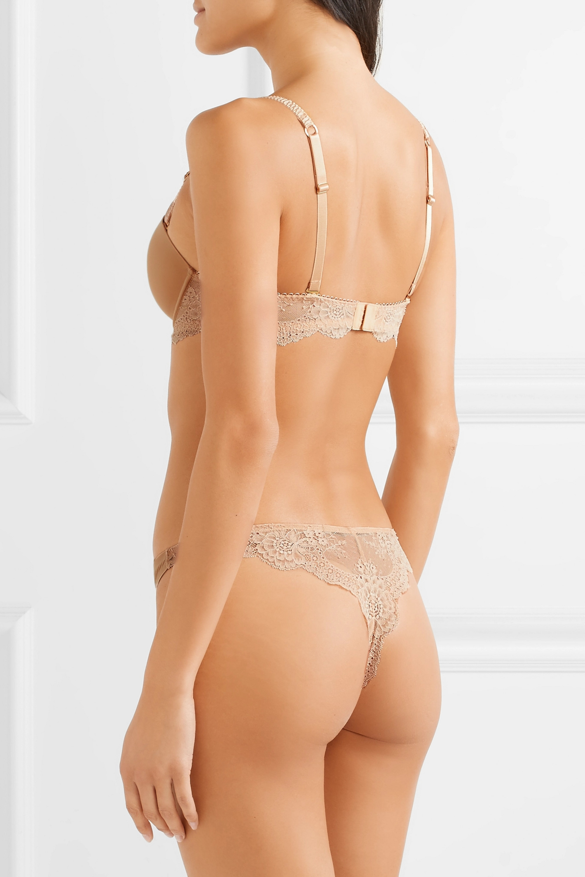 Stella McCartney Stretch-jersey and lace underwired balconette bra