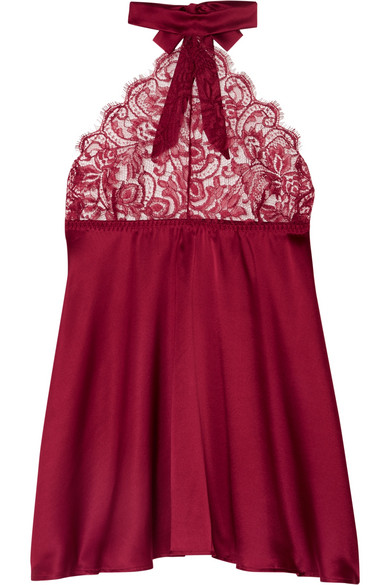 COCO DE MER Carnelian Silk-Blend Satin And Lace Halterneck Chemise in Claret