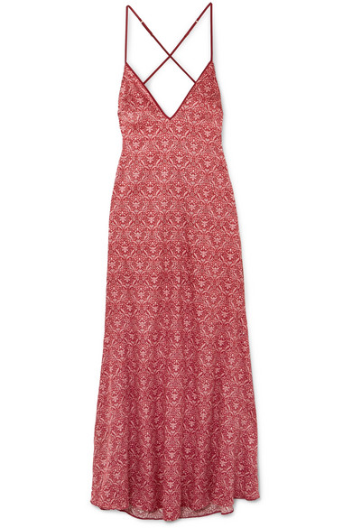 COCO DE MER Printed Stretch-Silk Satin Nightdress in Red