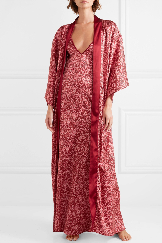Coco de Mer Printed stretch-silk satin nightdress