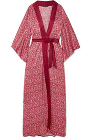 Coco de Mer Printed stretch-silk satin robe