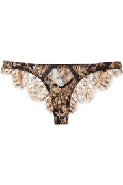 Ametrine cutout silk-blend satin and metallic lace thong
