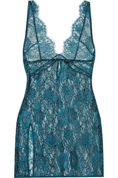 Coco de Mer - Peridot Satin-trimmed Metallic Silk-blend Lace Chemise - Teal