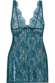 Coco de Mer Peridot satin-trimmed metallic silk-blend lace chemise