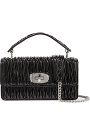Miu Miu Cleo matelassé patent-leather shoulder bag