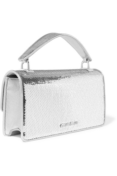 3a3c079b0c0 Miu Miu. Cleo sequined leather shoulder bag