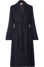 The Row Dranner belted cotton and wool-blend coat