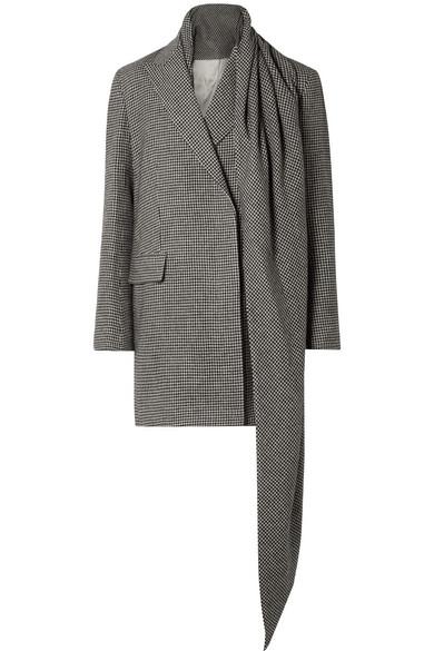 The Row - Mewey Tie-detailed Houndstooth Camel Hair Coat - Black