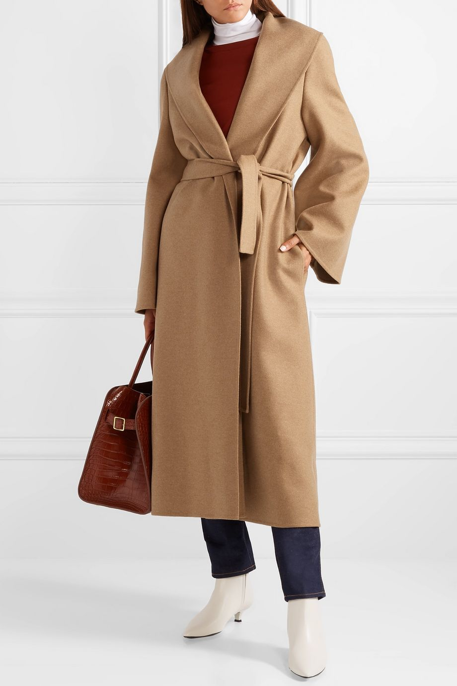 The Row Parlie oversized belted cashmere coat