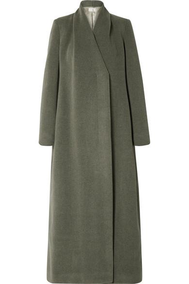 Nalty Wool-Blend Twill Coat in Green