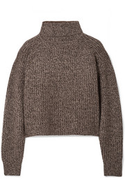 The Row Dickie oversized cropped mélange cashmere turtleneck sweater