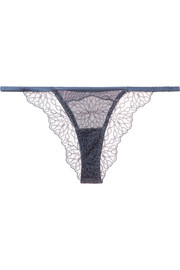 Coco de Mer Lazuli embroidered tulle and stretch silk-blend satin briefs