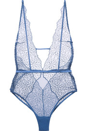 Coco de Mer Lazuli embroidered silk-blend mesh bodysuit