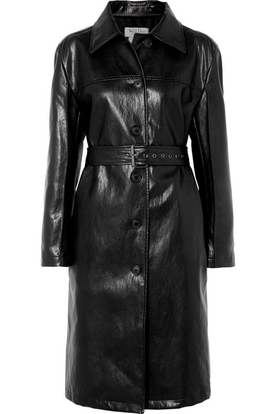 WE11 DONE Belted Faux Leather Coat in Black