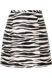 we11done Zebra-print satin mini skirt