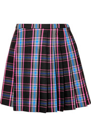 Pleated checked wool-blend mini skirt