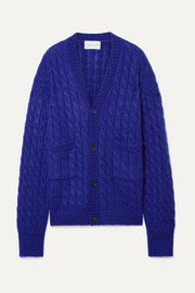Oversized cable-knit mohair-blend cardigan