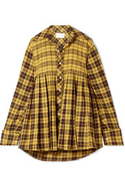 Oversized pleated checked cotton shirt