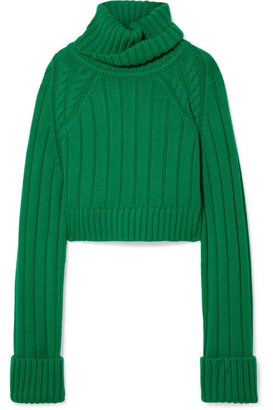 Matthew Adams Dolan OVERSIZED CROPPED CABLE-KNIT MERINO WOOL TURTLENECK SWEATER
