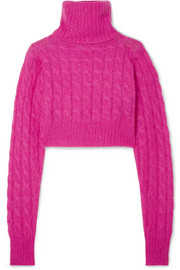 Matthew Adams Dolan Cropped cable-knit mohair-blend turtleneck sweater