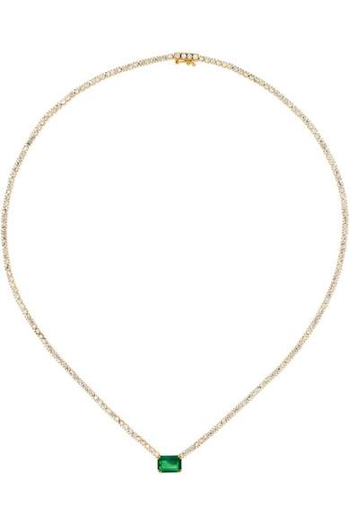 18 Karat Gold, Diamond And Emerald Necklace by Anita Ko