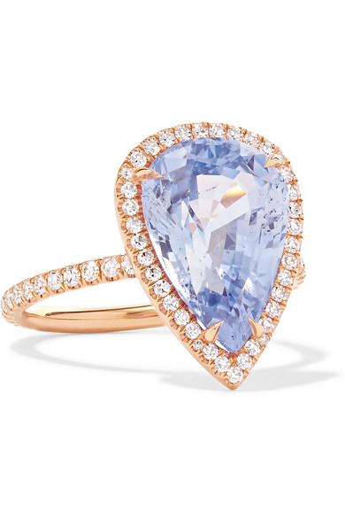 18 Karat Rose Gold, Sapphire And Diamond Ring by Anita Ko