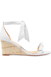 Clarita bow-embellished leather espadrille wedge sandals