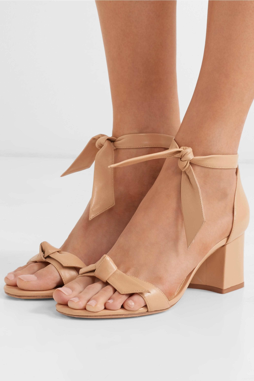Beige Clarita bow-embellished leather