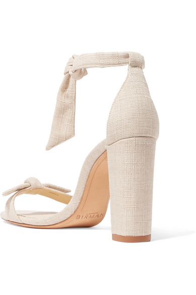Clarita Bow Embellished Linen Sandals by Alexandre Birman