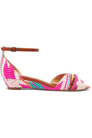 Alexandre Birman Jacquard, leather and suede wedge sandals