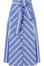 Maje Striped cotton-blend midi skirt