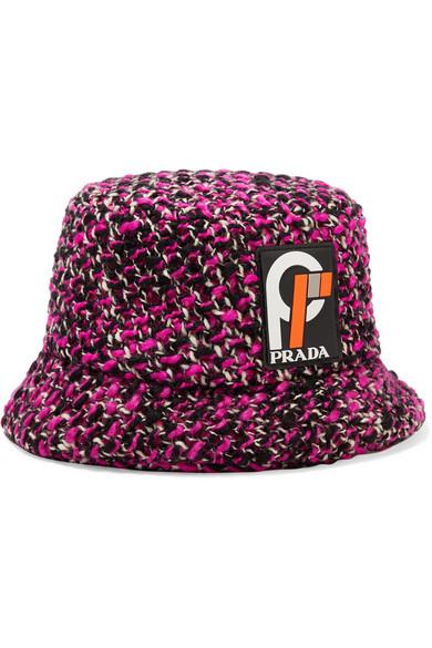 Wool-Blend Bucket Hat in Pink