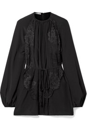 Stella McCartney Belted pleated lace-appliquéd silk blouse