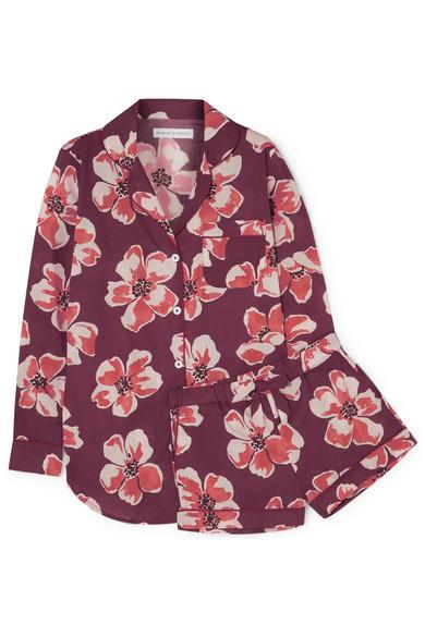 Desmond & Dempsey - Floral-print Cotton-voile Pajama Set - Claret