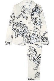 Printed cotton-voile pajama set