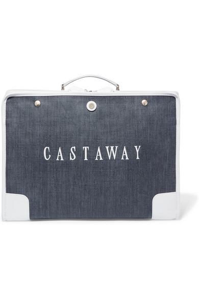 PARAVEL THE STOWAWAY LEATHER-TRIMMED PRINTED CANVAS WEEKEND BAG