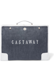The Stowaway leather-trimmed printed canvas weekend bag