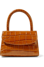 Mini croc-effect leather tote