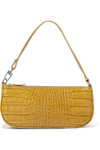 Exact Product: Rachel croc-effect leather shoulder bag, Brand: BY FAR, Available on: net-a-porter.com, Price: $365