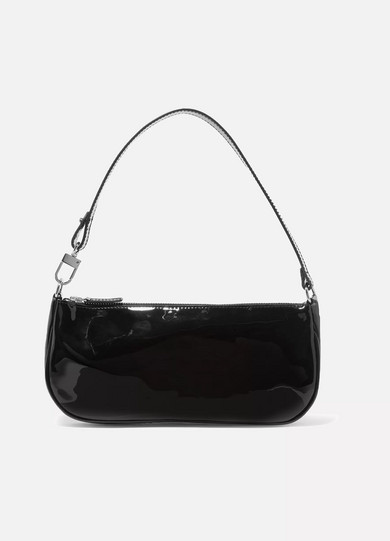 Exact Product: Rachel patent-leather shoulder bag, Brand: By Far, Available on: net-a-porter.com, Price: $365
